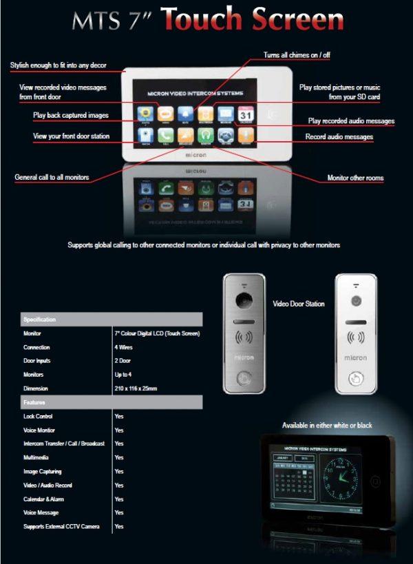 "Micron 7"" Touch Screen Intercom"